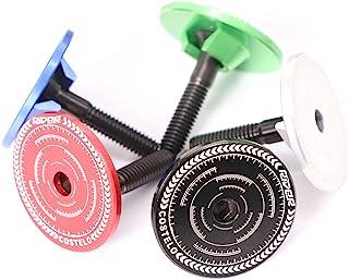 N\C 耳机顶盖 1 1/8 英寸隐形设计道路 MTB 自行车耳机顶盖盖铝合金钛螺丝(黑色)