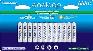 Panasonic 松下电器 BK-4MCCA12FA eneloop AAA 2100循环镍氢预充电充电电池,(包装包括12个AAA银色或12个AAA白色)