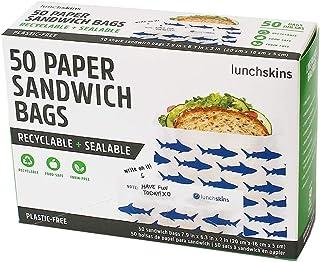 Lunchskins 可回收 + 密封纸三明治袋,带闭合带,50 个装,鲨鱼