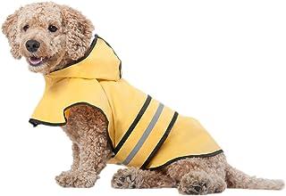 POT Ethical Products 时尚中型犬宠物狗雨衣 | 连帽小狗防雨夹克 | 小狗用雨披风 | 涤纶 | 防水 | 黄色,带灰色反光条纹 | 为您的宠物打造完美的雨具