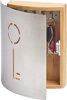 Zeller 13846 钥匙盒,盒盖配有钥匙造型,竹 / 不锈钢,约 21.5 x 5.5 x 24.5 厘米