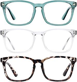 TIJN 3 件装时尚方形非*眼镜透明镜片眼镜男女适用 (Blue Light Blocking)transparent/Leopard/Seagreen
