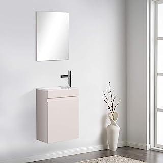 16 英寸(约 40.6 厘米)浴室梳妆台和水槽组合,适用于小空间,TONA 现代设计壁挂式梳妆台套装,带水槽组合和浴室镜子,适用于梳妆台,白色,MINI-400