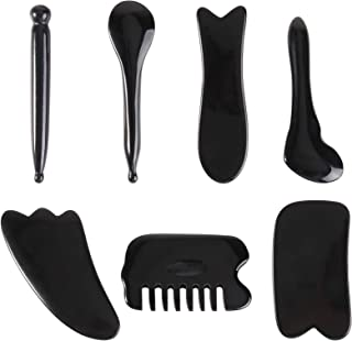 Lurrose 7 件刮痧面部工具,树脂刮痧按摩工具,适用于身体和面部,Guasha 刮板用于针灸,深层组织按摩,缓解肌肉*(黑色)