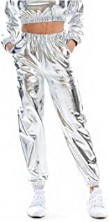 Giovacker 女式金属闪亮慢跑裤全息嘻哈运动裤锥形裤,带口袋