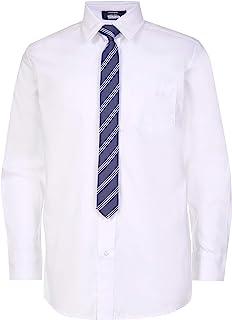 Arrow 男孩 Aroflex 长袖弹力礼服衬衫,带领带 白色 X-large (14/16) Husky