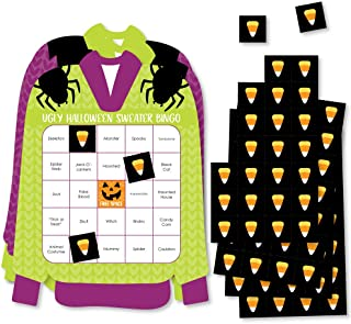 Big Dot of Happiness 万圣节丑毛衣 - Bar Bingo 扑克和马克笔 - 万圣节派对造型宾戈游戏 - 18 件套