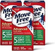 Move Free 益節 氨基葡萄糖軟骨素以及MSM補充片劑(一盒120粒)(3盒裝),支持移動性,靈活性,強度,潤滑性和舒適性*