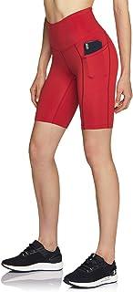 ATIKA 女式高腰自行车短裤,健身跑步瑜伽短裤,带口袋,运动弹力锻炼短裤,8 英寸(约 20.3 厘米) HW 侧插 (ys281) - 红色,中号