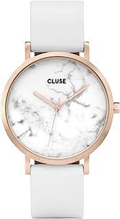 Cluse 女式 La Roche 小码 38mm 白色皮革表带钢质表壳石英模拟手表 CL40010