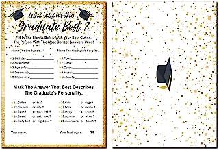 30 张毕业游戏卡片 Who Knows the Graduate Best 2021 年,毕业派对用品装饰,12.7 厘米 x 17.78 厘米,有趣的毕业派对游戏卡,适合客人了解他们真的如何知道毕业生