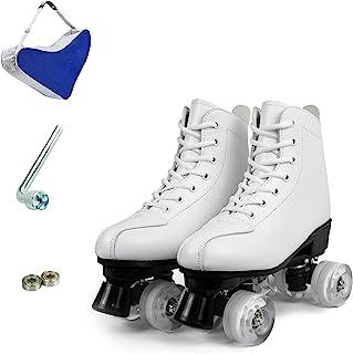 ZZAINIO 女式溜冰鞋,经典 PU 皮高帮溜冰鞋 4 轮女式溜冰鞋 闪亮溜冰鞋 男女皆宜 带携带袋和工具