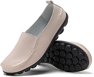 fudynmalc 女式皮革休闲圆头软舒适驾车乐福鞋女鞋