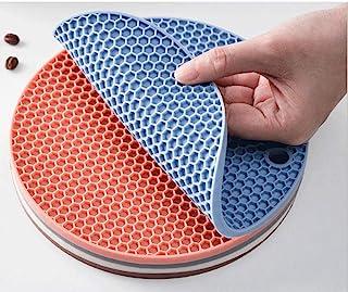 JUNREN 圆形硅胶隔热垫、加厚餐桌垫、杯垫、砂锅垫、防滑垫、防刮垫、厨房耐高温(约18厘米)