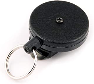 "Key-Bak 原创系列可伸缩 KEY 渔线轮带不锈钢弹簧和 Kevlar 或链条 tether ,美国制造 Since 1948 Black Vinyl 48"" Kevlar (8 oz. Retraction)"