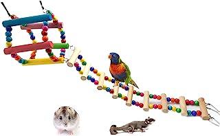 N\A 鸟梯长尾鹦鹉玩具,彩虹秋千悬挂鸟笼,适用于长尾鹦鹉,绳鲈鱼仓鼠桥梁鼠笼,鹦鹉笼,宠物爬行和训练配件