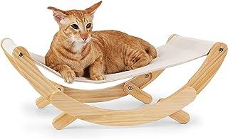 FUKUMARU 猫吊床 – 新月猫秋千椅,小猫吊床,猫咪家具礼品赠送给小至中型猫或玩具狗(* – 米色)