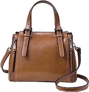 Heshe 女式皮革单肩手提包 Hobo 包 水桶包 设计师款挎包 女式钱包 斜挎包