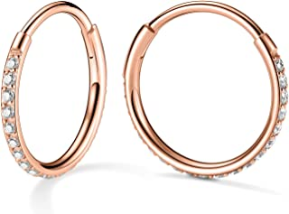 方晶锆石蛋白石耳环 - 2 件软骨耳环箍适合女性女孩 316L *钢镀 14K 女士无尽耳环 20G 低*性 Huggie 耳环
