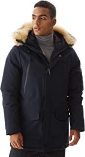 Molemsx 男式保暖冬季羽绒夹克派克羽绒服带兜帽人造皮毛饰边 XS-3XL