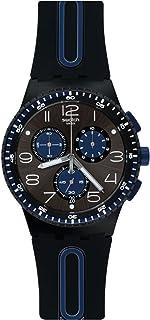 Swatch 斯沃琪 瑞士品牌 新果冻计时系列 石英男女适用手表 黑蓝轻舟 SUSB406