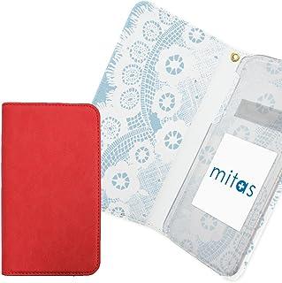 Mitas Google Pixel 3 XL Pixel3XL_SoftBank 手机壳 手账型 内侧印刷 蕾丝 牛仔布 蓝色 外侧红色 (415) RB-2383-BU-RD/Pixel3XL_SoftBank