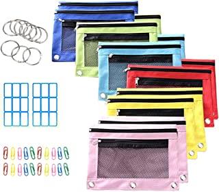 (12 包) 铅笔袋 带 3 环活页夹孔 透明网眼铅笔盒 带拉链 双口袋和拉链设计 适合学校和办公室用品 额外的粘性标签、装订环和纸夹 6 种颜色