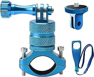 ParaPace 山地自行车支架带 ¼-20 适配器适用于 GoPro Hero 10/9/8/7/6/5/4/3+,360 度旋转铝制自行车车把支架自行车架调节器适用于运动相机 DJI Xiaoyi CASIO(蓝色)