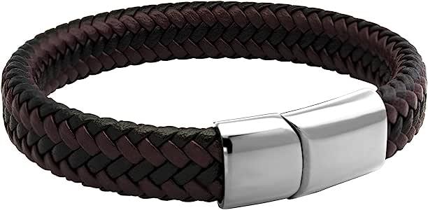 555Jewelry 不锈钢磁扣编织棕色和黑色皮革手链 男式