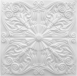 Art3d 装饰天花板瓷砖 2x2 胶水,躺在天花板瓷砖 24x24 每包 12 件西班牙花卉哑光白
