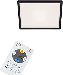 Briloner Leuchten - LED 面板,可调光吸顶灯,带背光,包括遥控器,18瓦,2400流明,白色黑色,293x293x28mm (长x宽x高)
