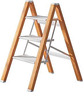 3 Steps 梯子防滑可折叠白色铝质轻质宽踏板适用于家庭和厨房节省空间