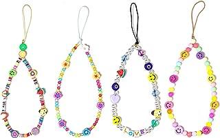 Exweup 4 件彩色串珠手机挂绳 – 波西米亚笑脸串珠手机挂坠腕带、水果星星字母花朵珍珠手工手链钥匙扣、女式和女孩手机配件。