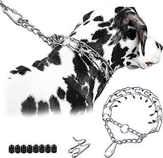狗爪项圈,狗狗夹具训练项圈,带快速释放锁定登山扣,可调节不锈钢连接带舒适提示,适合小型中型大型犬(银色,3.5 毫米,8.5 英寸,16-20 英寸颈部)