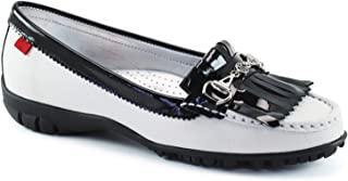 女式休闲舒适真皮轻质性能无铆钉透气防水垫支撑一脚蹬高尔夫球鞋