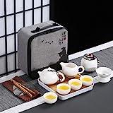 Kilisa 便携式中国功夫茶具,带旅行袋和竹茶盘,12件旅行茶具(1个壶,4个杯,1个罐,1个带柄的陶罐,白色)