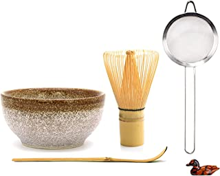 日式抹茶搅拌器套装 抹茶仪式套装 抹茶打蛋器 (Chasen) 传统勺子 (Chashaku) 勺架 茶筛和陶瓷抹茶碗(5 件)