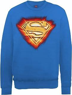 DC Comics 男式 DC0000766 官方超人爆炸标志圆领长袖运动衫