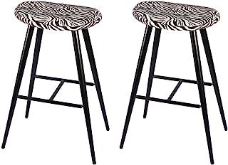 GIA 30 英寸(约 76.2 厘米)吧台高度椭圆形金属酒吧凳,带人造亚麻斑马印花,黑色,2 件套