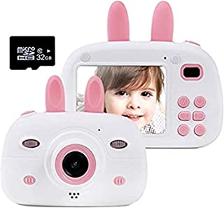 Gmlmes 儿童摄像机数码兔子相机适合男孩幼儿 3-10 岁生日礼物 1080P 高清防震可充电视频录像机带 2.4 英寸 IPS 屏幕(粉色)