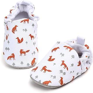 KIDSUN 婴儿女童男孩拖鞋可爱卡通动物运动鞋莫卡辛软鞋防滑First Walkers House Shoes 1_white Fox 12-18 Months Infant
