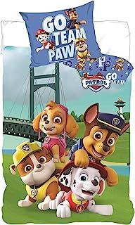 Paw Patrol 狗狗巡逻队羽绒被套和枕套,婴儿幼儿床上用品套装,* 纯棉(53.1 英寸 x 39.3 英寸)