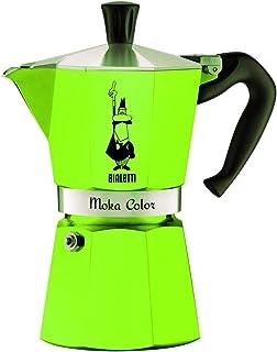 Bialetti 9122 Moka Express 彩色咖啡煮壶,铝制,3杯容量,绿色