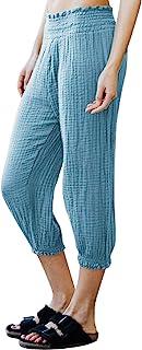 GRACE KARIN 女式睡衣休闲裤 纯色舒适高腰运动裤 七分裤带口袋