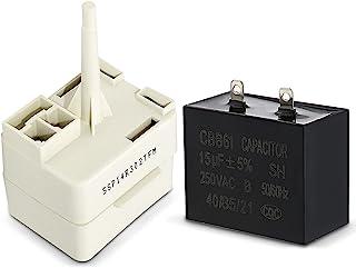 puxyblue W10613606 冰箱压缩机启动继电器和电容器 适用于惠而浦 冰箱 - 替换 W10416065、PS8746522、67003186、67005560
