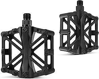 自行车踏板 – 平台自行车踏板,简约外形,可调节握把,脚踏山地自行车踏板,轻质尼龙纤维自行车平台踏板,适用于 BMX MTB 9/16 英寸