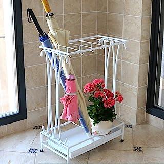 带可拆卸滴水托盘和 8 个挂钩的雨伞架,复古金属伞架,工业伞架,适用于家庭办公室入口走廊露台装饰(白色)