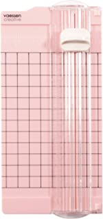 Vaessen Creative 2137-061 迷你切纸机 粉色 6.5 × 15.3 厘米 小型切纸机 带数据以厘米为单位和英寸为单位用于手工纸张制作