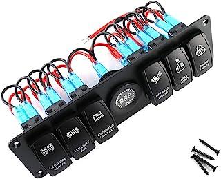 ROSEBEAR 开关按钮 6 个帮开关摇杆开关面板彩色 LED 电压表适用于 RV 汽车船舶汽车开关继电器