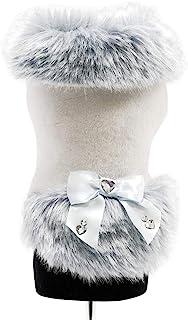 Trilly Tutti Brilli 毛绒大衣带人造皮毛,缎面蝴蝶结镶嵌施华洛世奇宝石,浅蓝色,S - 1产品